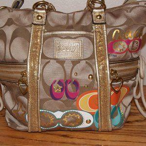 Cute & fun gold Coach bag with colorful C print